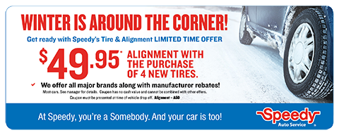 Alignment with the purchase of 4 new tires - $49.95